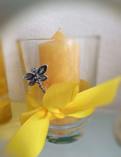 Kerze Gelb im Glas