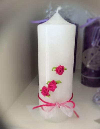 Kerze Weiss mit Rosen